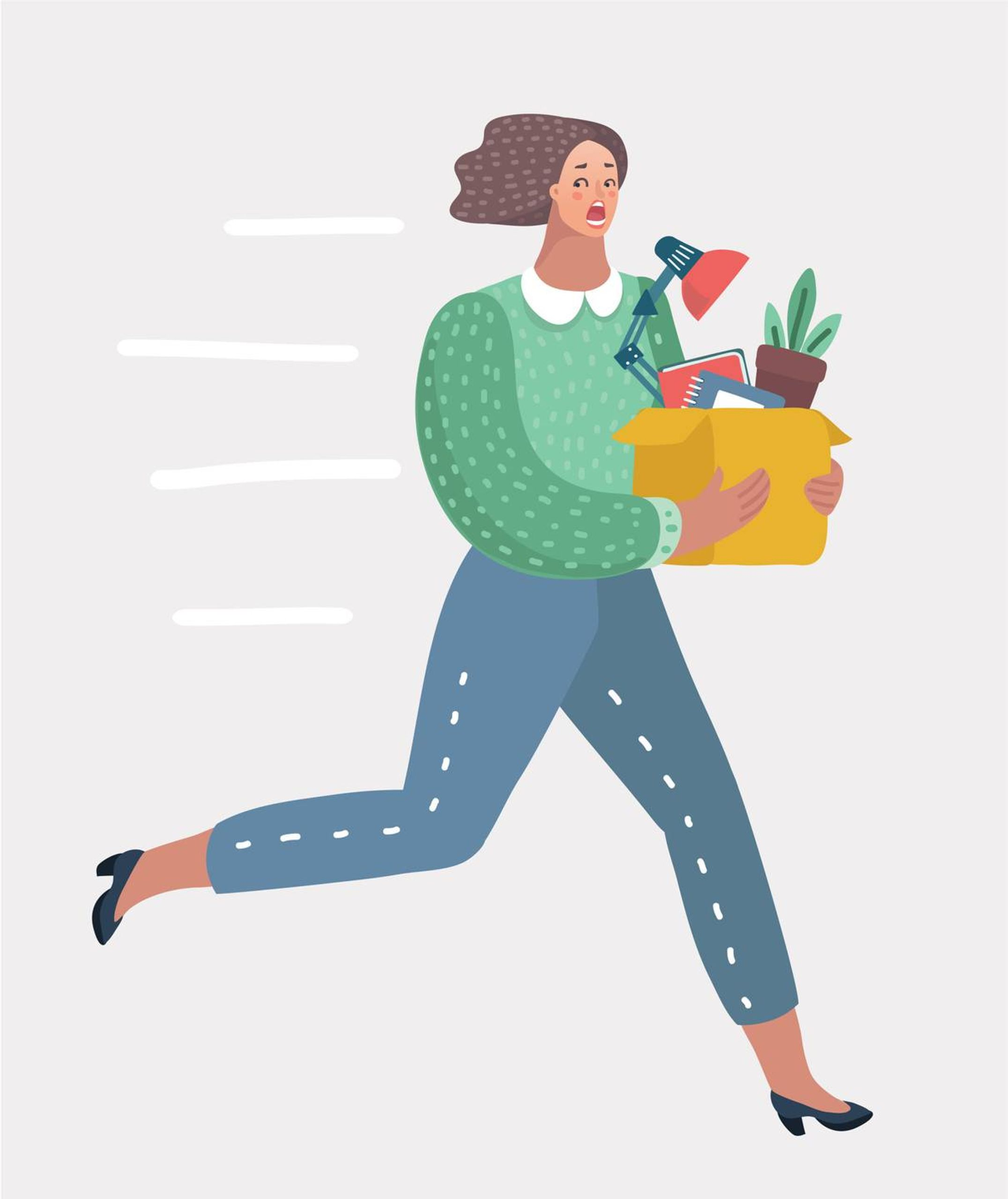 Illustration of a woman holding a box of work desk belongings while running, quitting, rewire, job