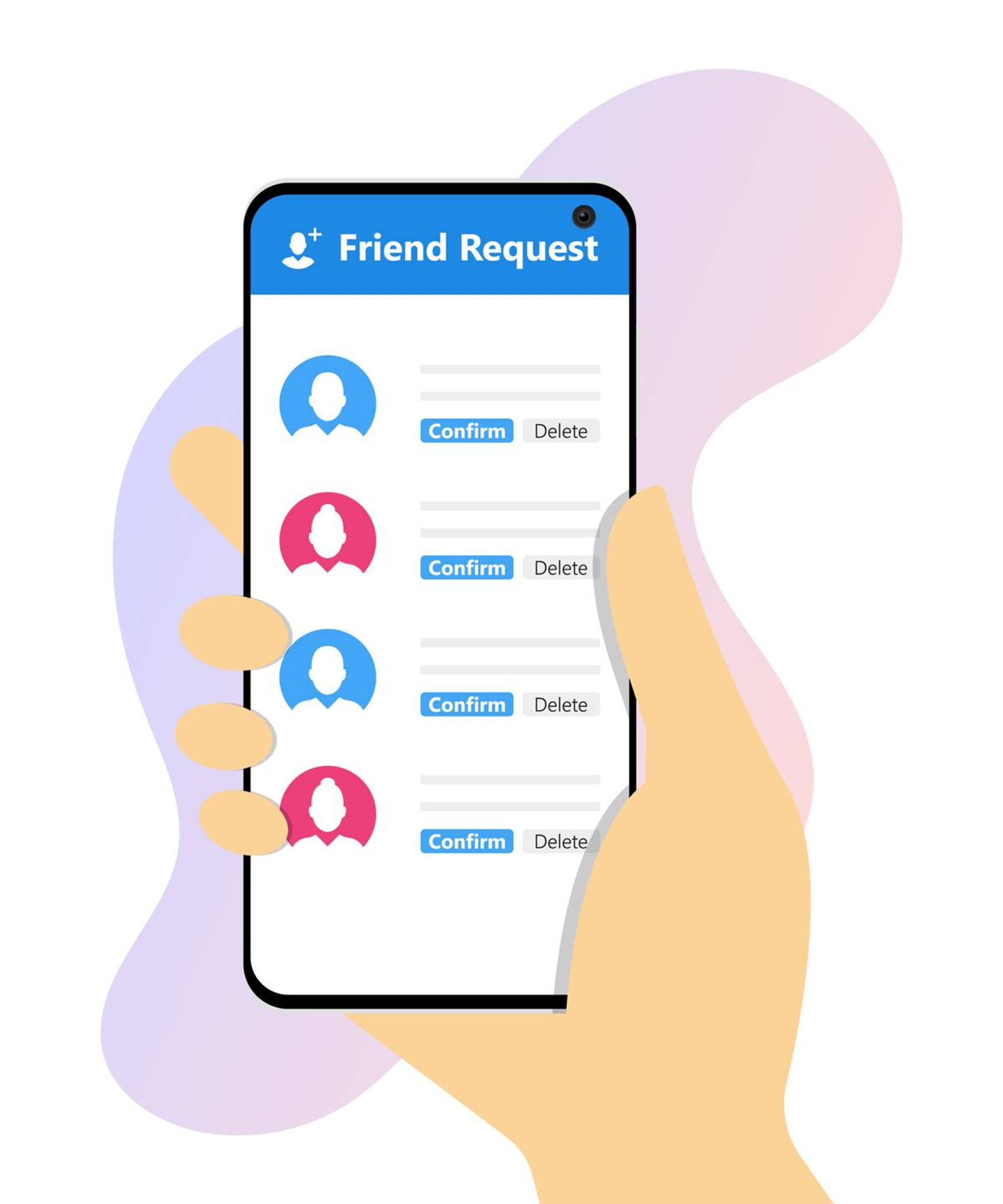Illustration of hand holding smart phone with a friend request screen, rewire, social media at work