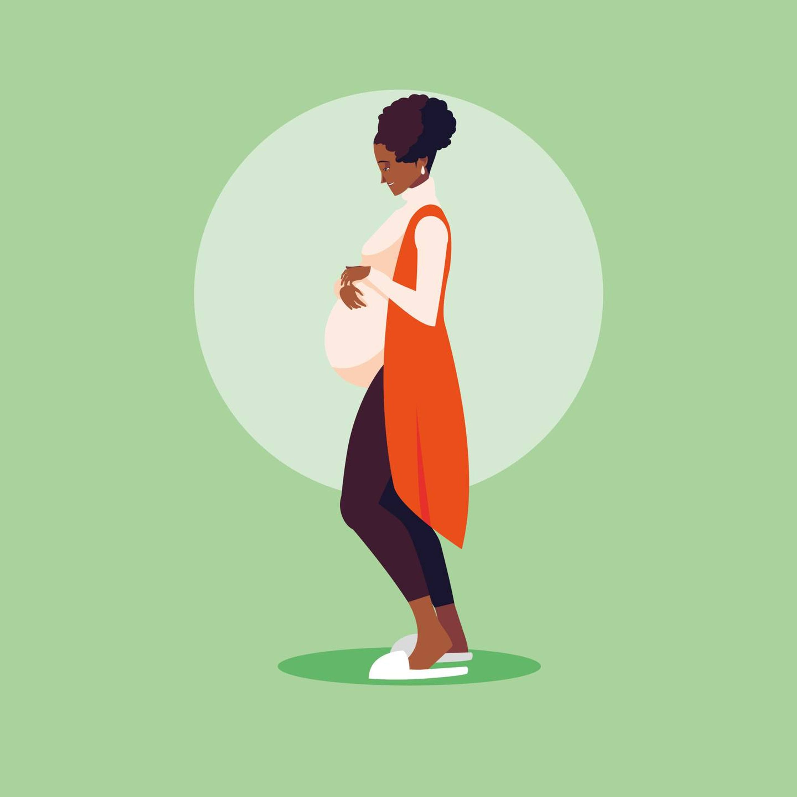Illustration of pregnant Black woman holding her belly, black and pregnant in America, Rewire