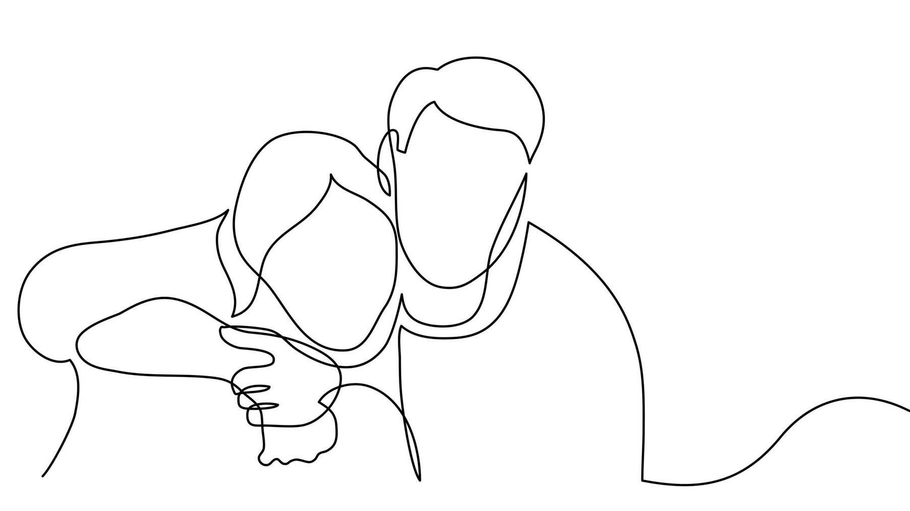 continuous line drawing of man and woman hugging each other, cancer related trauma