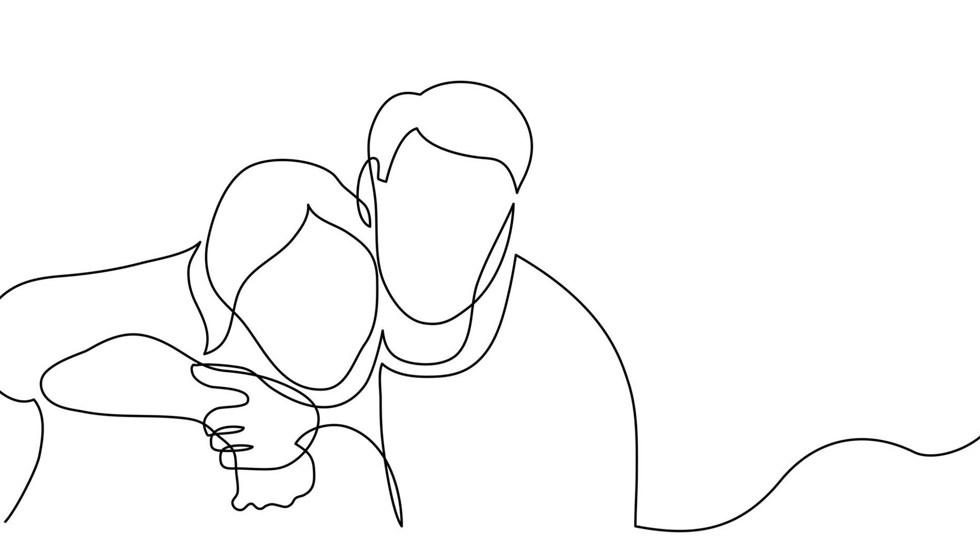 continuous line drawing of man and woman hugging each other