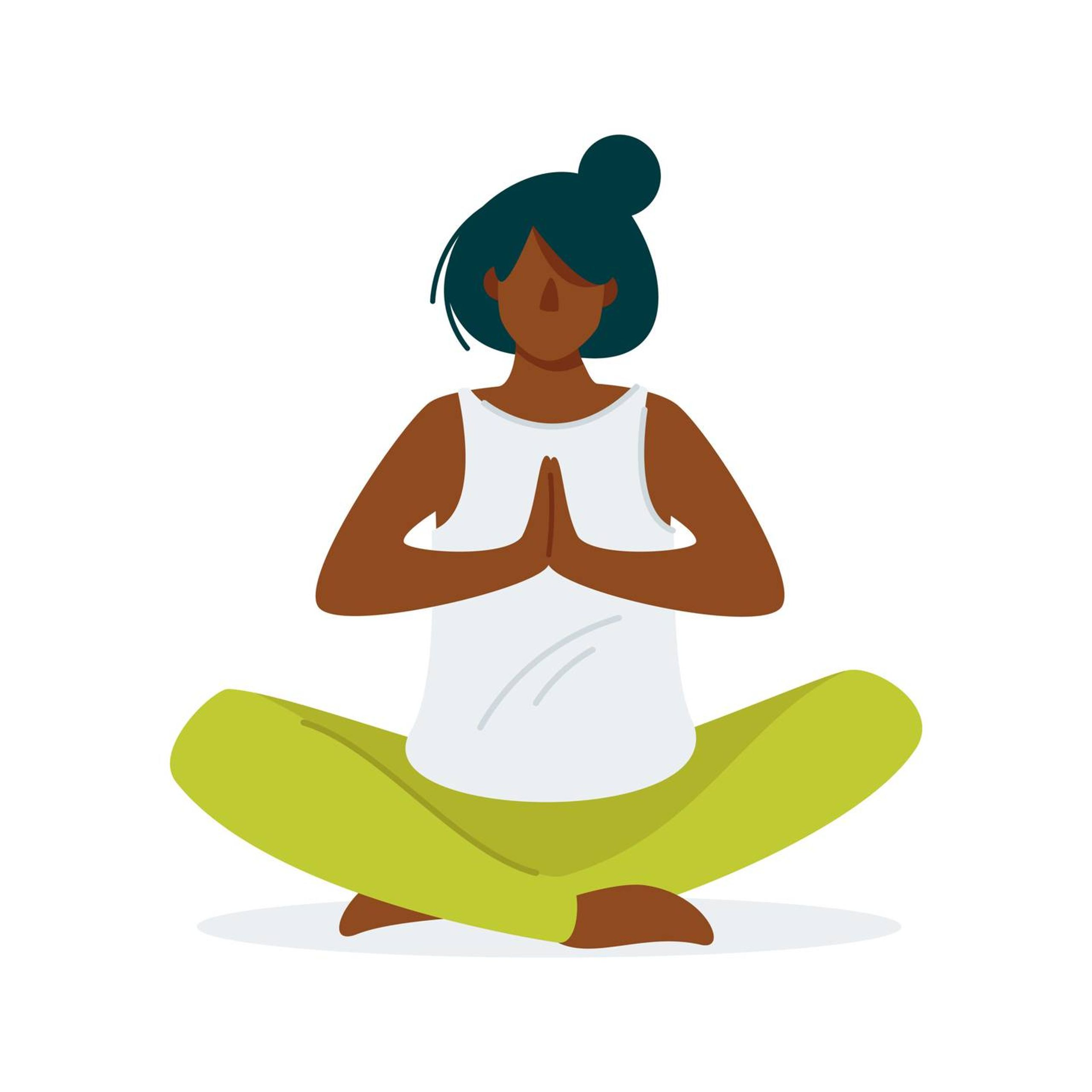 Illustration of a woman sitting and doing a meditative yoga pose, self-care, Rewire