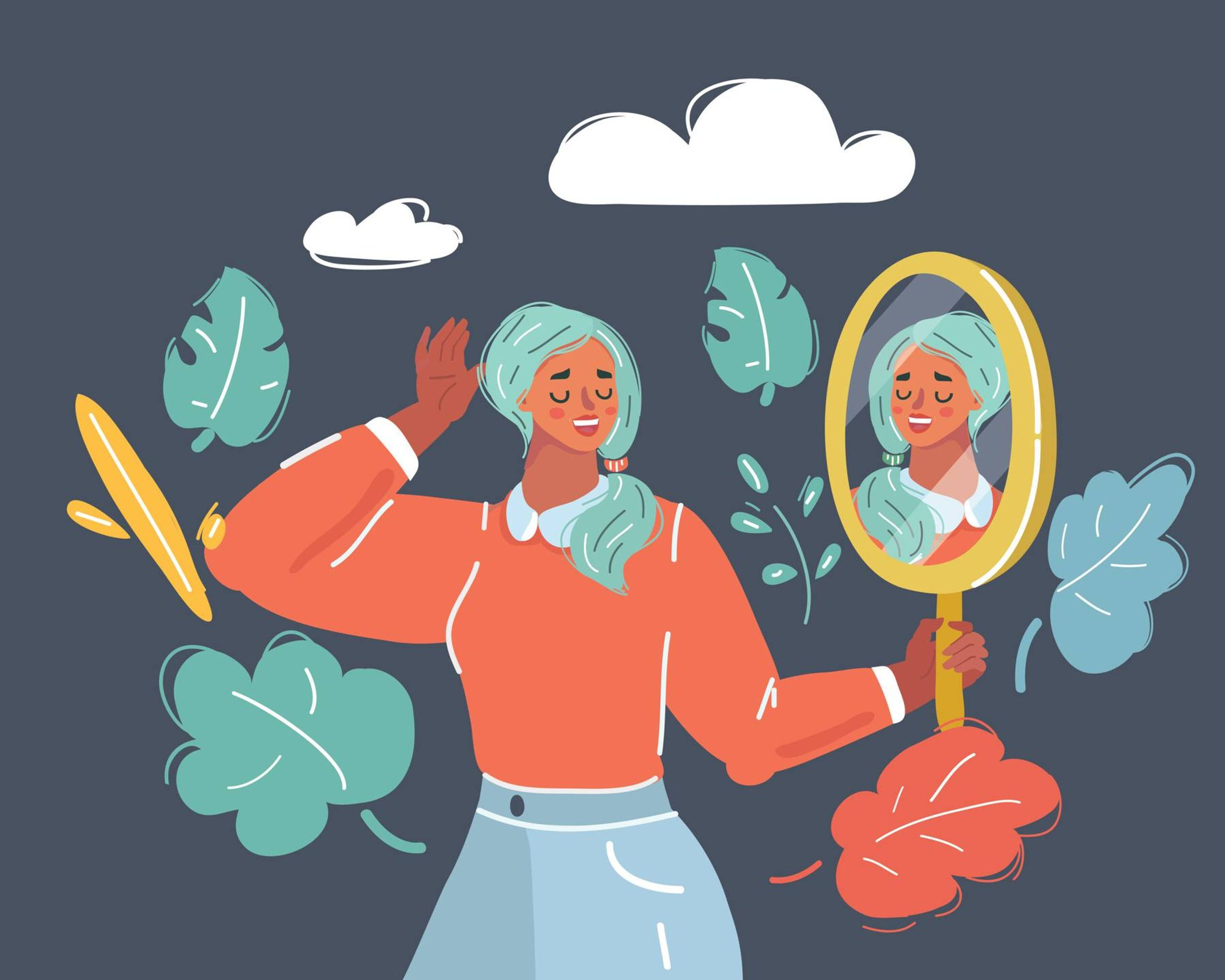 Illustration of a woman looking at herself in a mirror and smiling, asexuality, Rewire