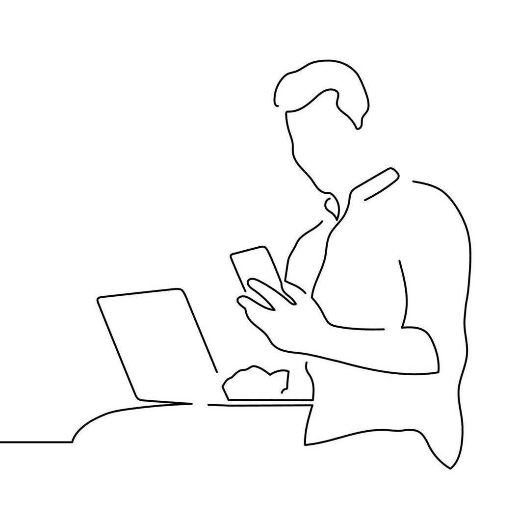 Single line illustration of man on laptop and holding up smartphone, tik tok job recruitment