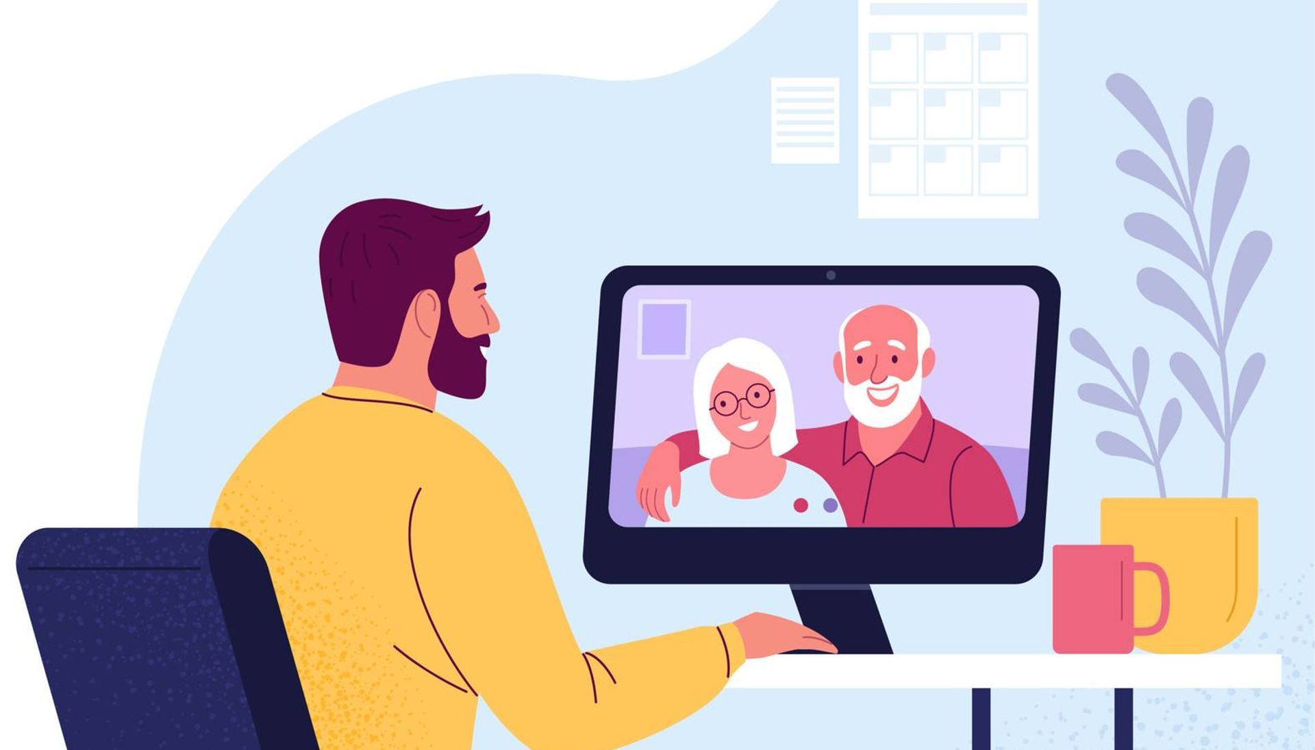 Illustration of a man having a video conference call with his parents, who appear together on a computer screen