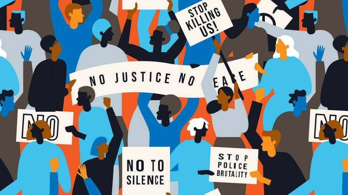 Illustration of Black Lives Matter protesters holding signs for racial justice and against police brutality, chauvin trial, rewire, racial justice