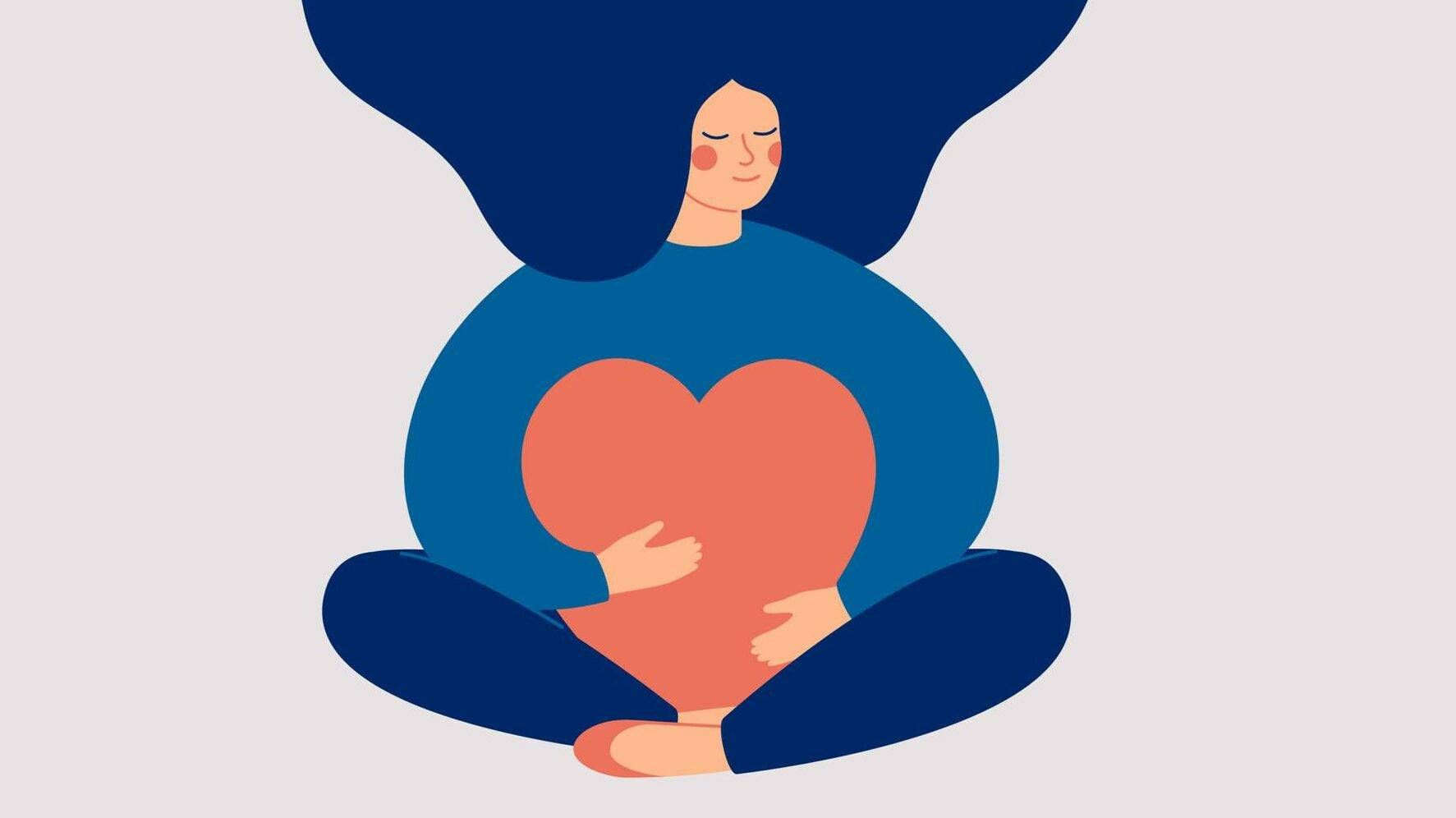 Young woman embraces a big red heart with mindfulness and love. Smiling female character sits in lotus pose with closed eyes and enjoys her freedom and life. Asexuality Rewire