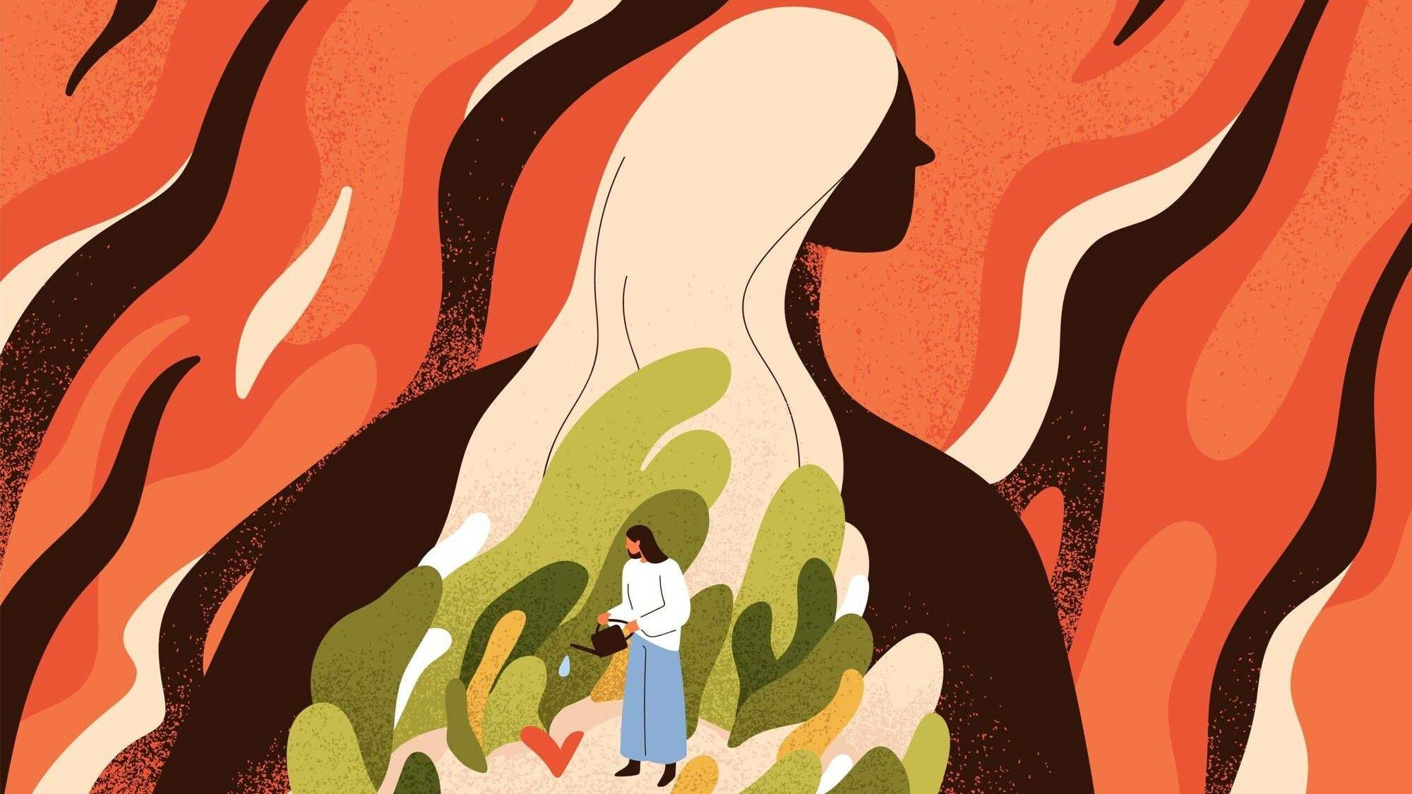 Abstract illustration of woman silhouetted against a fiery background, with a small interior woman watering green plants inside of her, self-care, Rewire