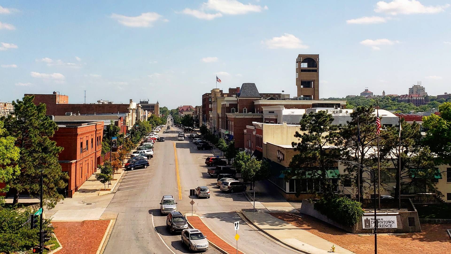 Downtown area of Lawrence, Kansas. Rewire PBS Living Rural