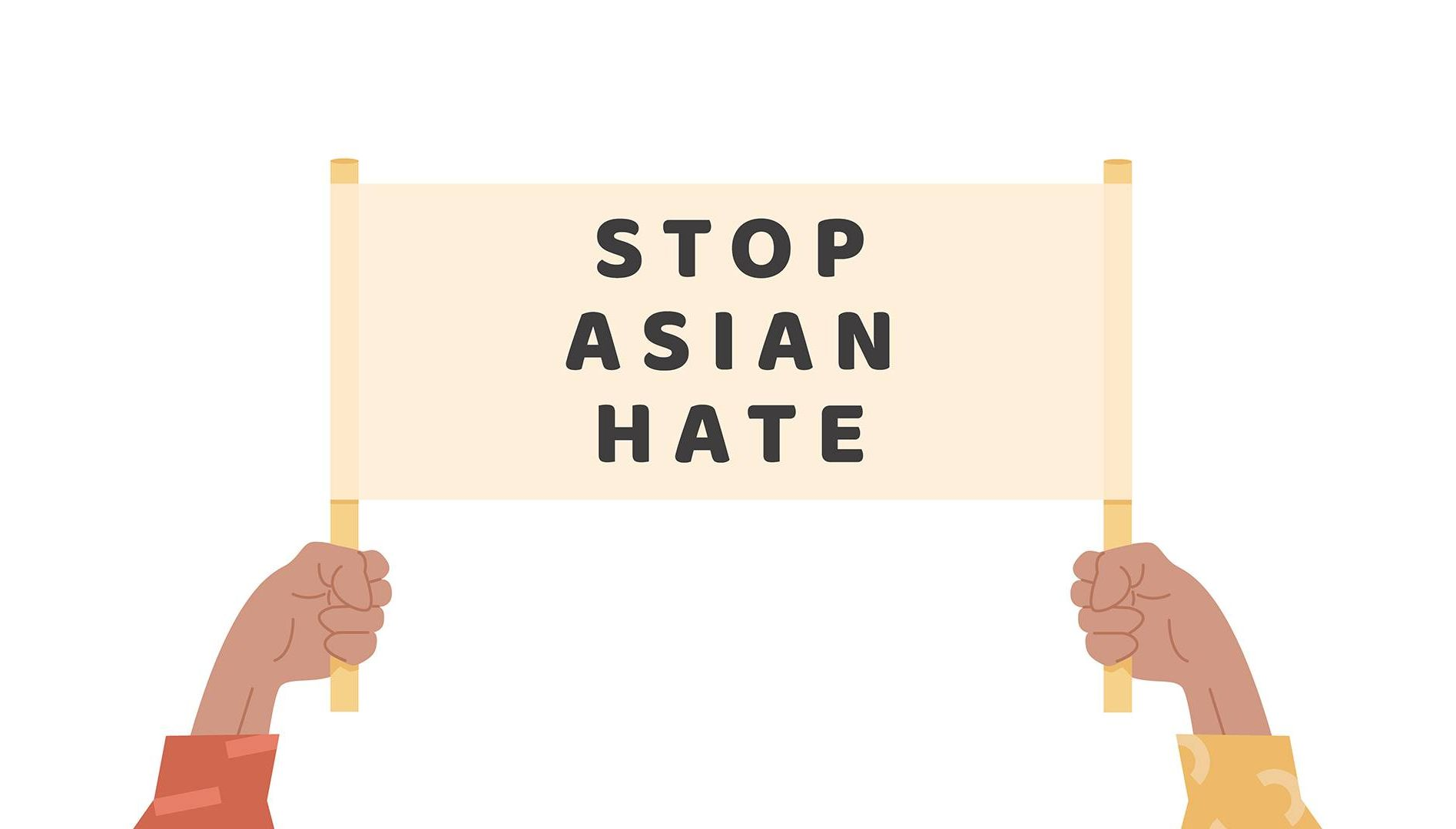 Man or women holding text banner against Asian hate. Rewire PBS Asian Americans