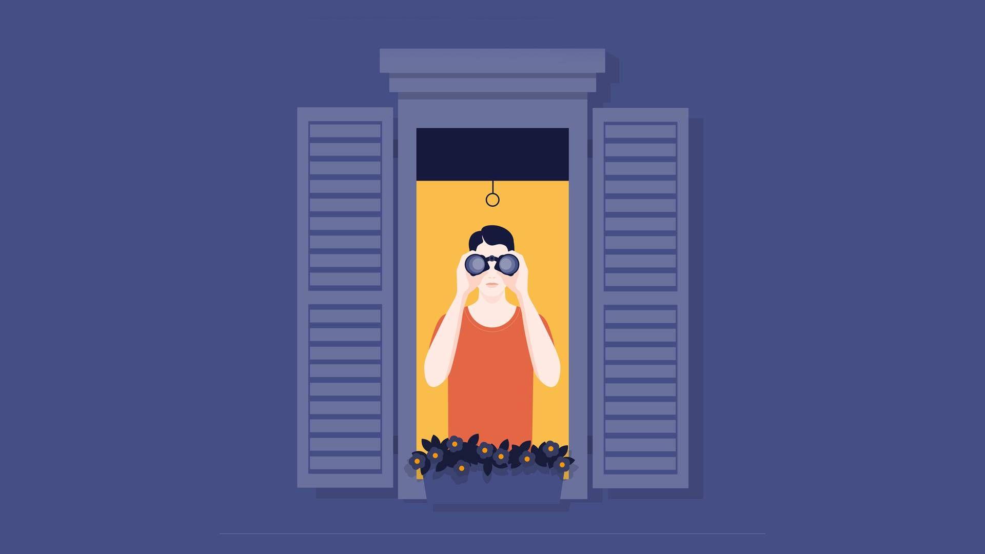 a man using binoculars to look out window. rewire pbs nextdoor and citizen app