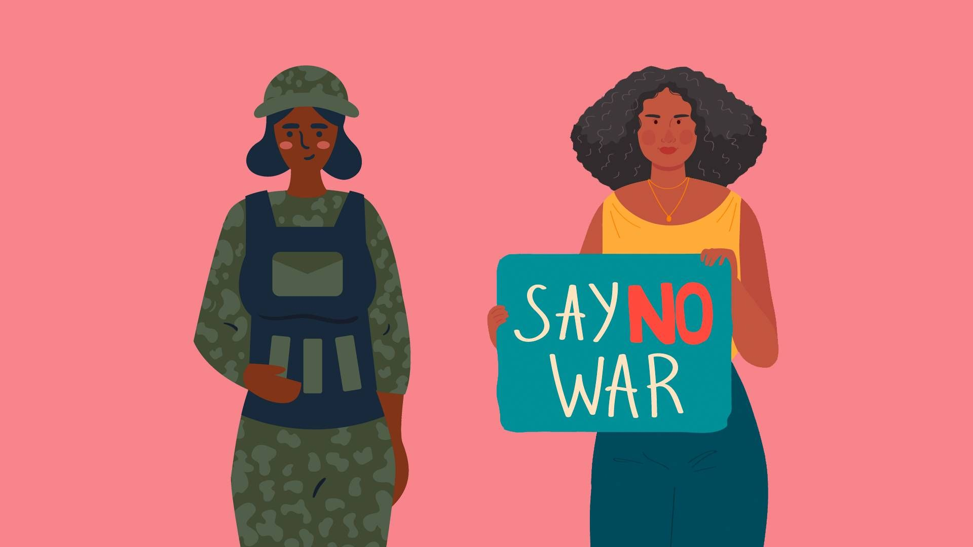 two women, one in military uniform and one anti war. rewire pbs love support military