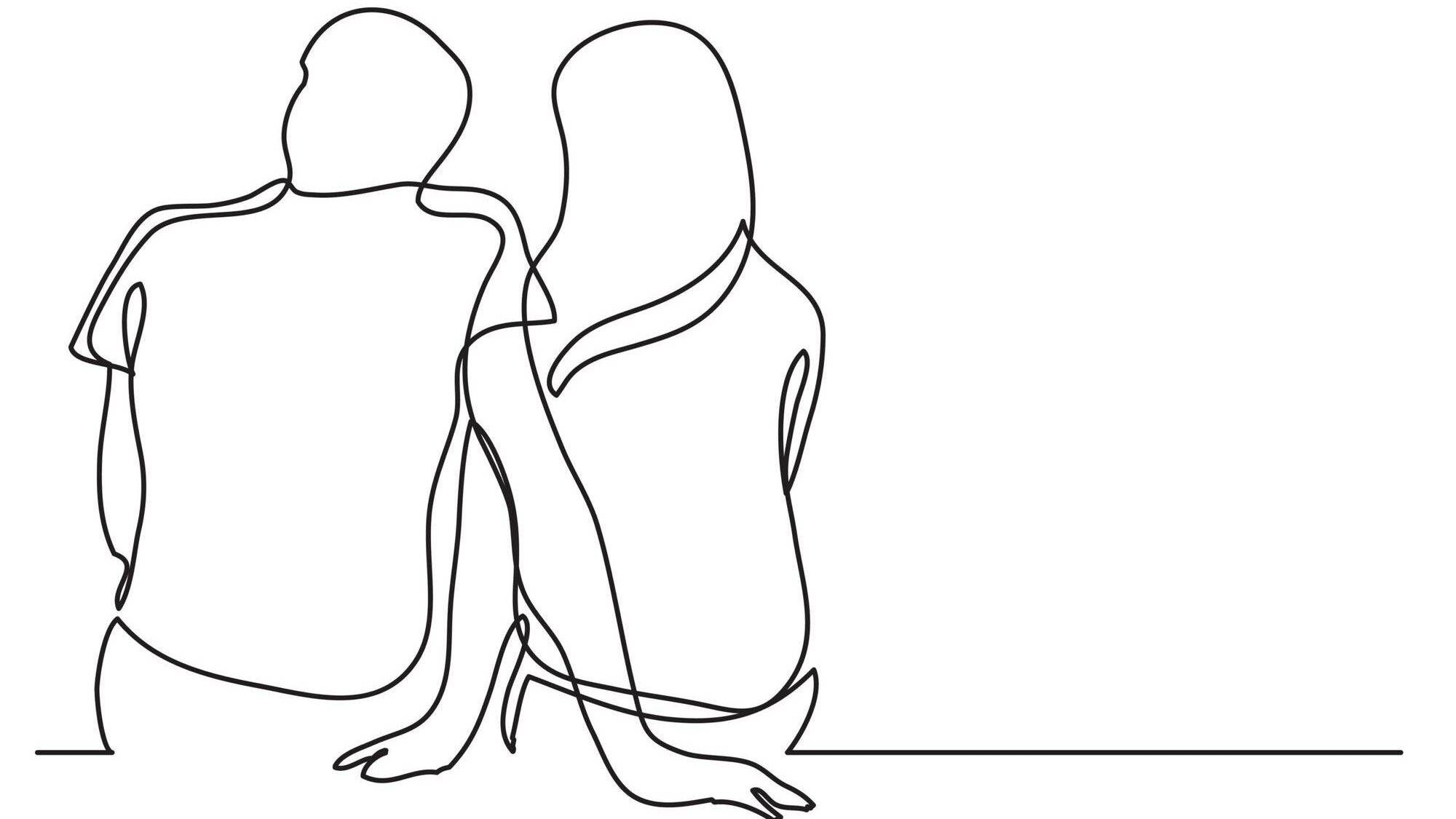 Line drawing illustration of a couple sitting next two each other. Age gap, love, Rewire, PBS