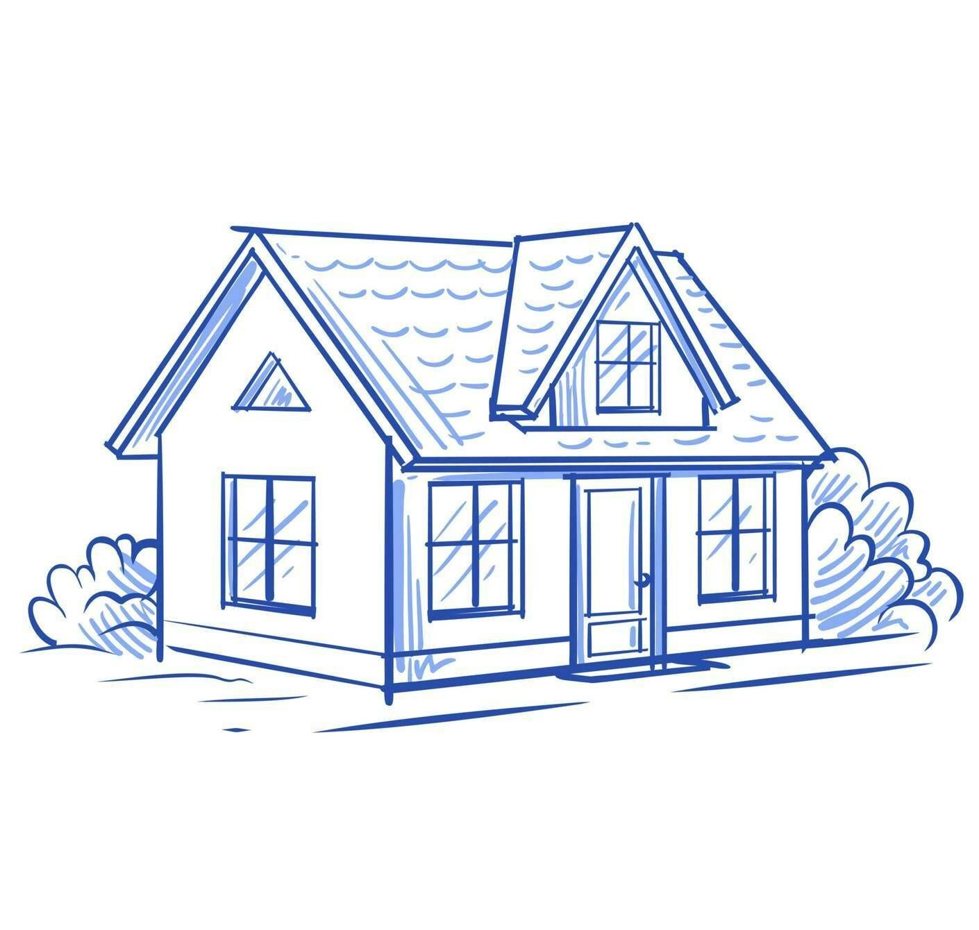 Illustration of a small house surrounded by bushes, Rewire, homebuyers, PBS