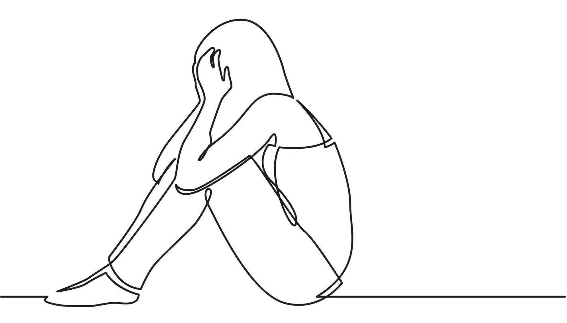 Continuous line drawing of woman sitting on floor in despair. Suicide cluster, Rewire, PBS