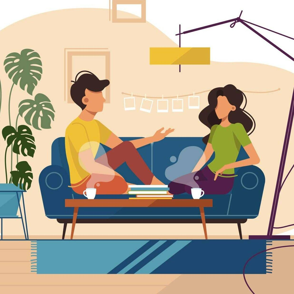 Illustration of couple sitting on couch in apartment and talking.