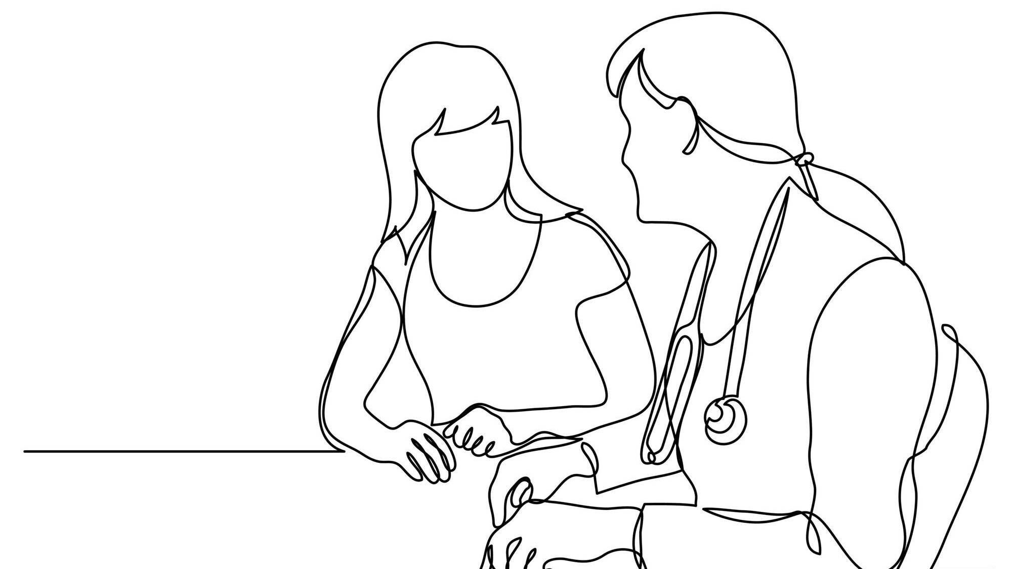 Line illustration of a female doctor speaking with a female patient, sitting at a table, egg freezing, Rewire, PBS