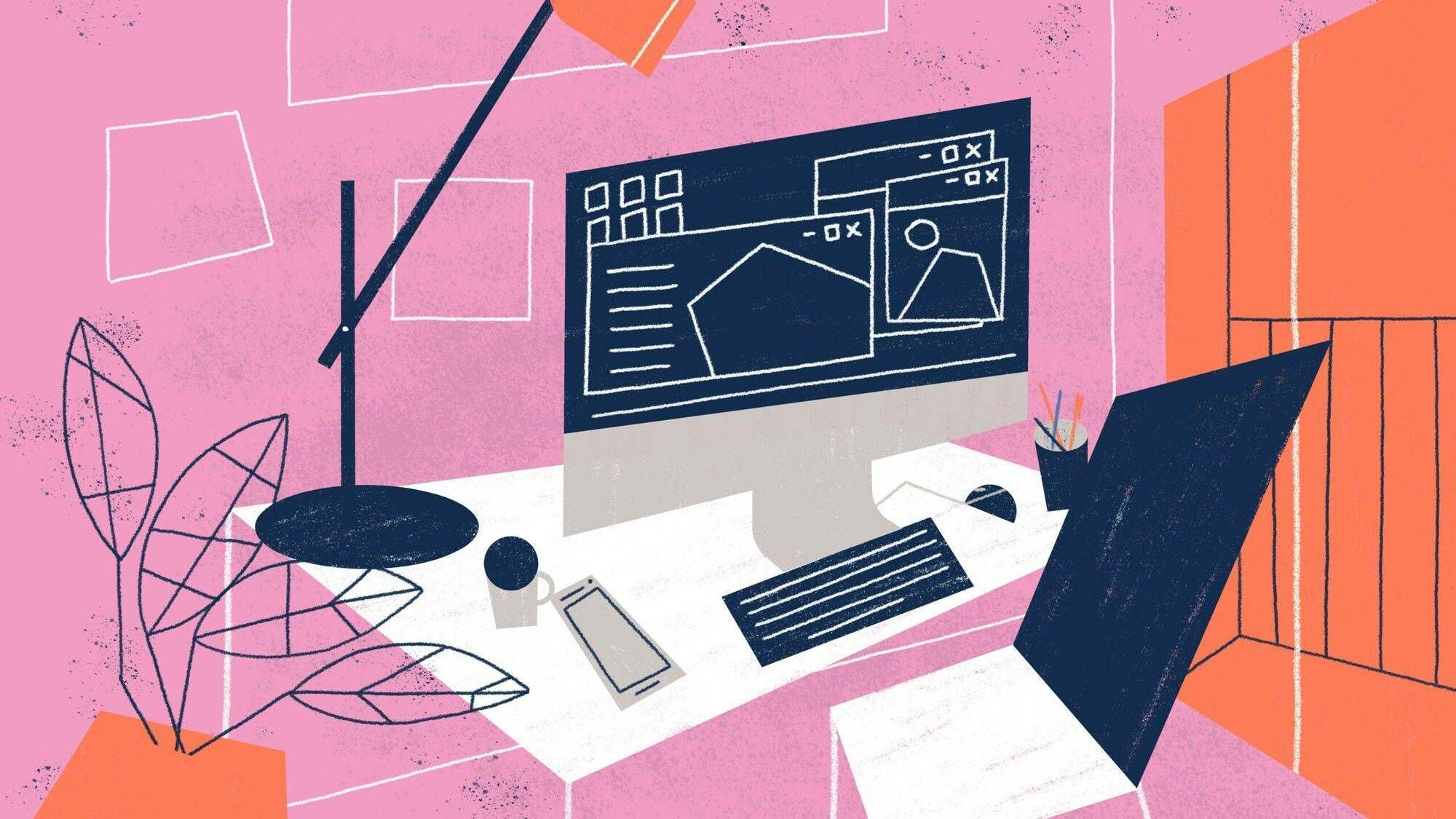 Illustration of colorful home office with desktop computer, lamp, table, chair and coffee, remote work, Rewire, PBS