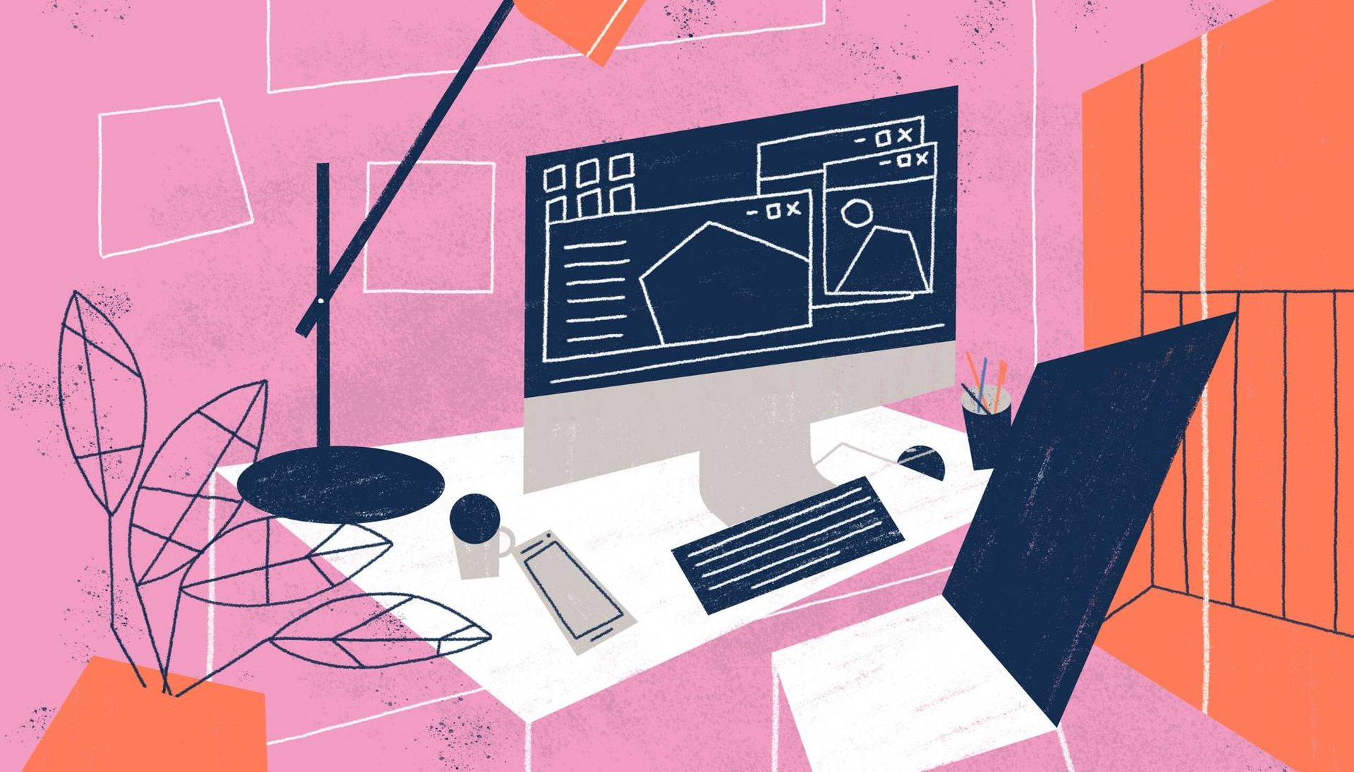 Illustration of colorful home office with desktop computer, lamp, table, chair and coffee