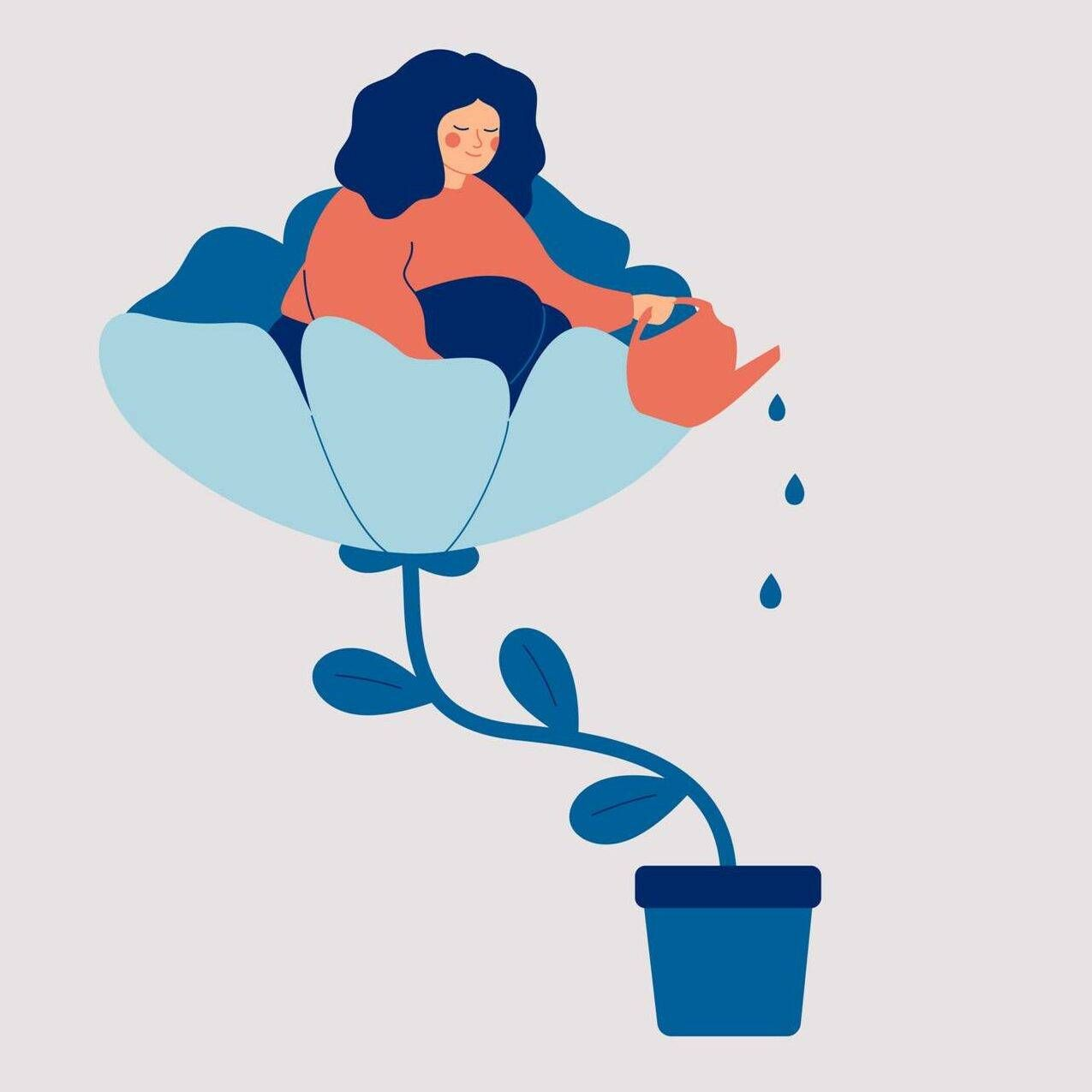 A happy woman sits in the flower and waters it. Smiling girl cares about herself and her future. Concept of love yourself and a healthy lifestyle. Vector illustration. Trauma, post-traumatic growth, Rewire, PBS