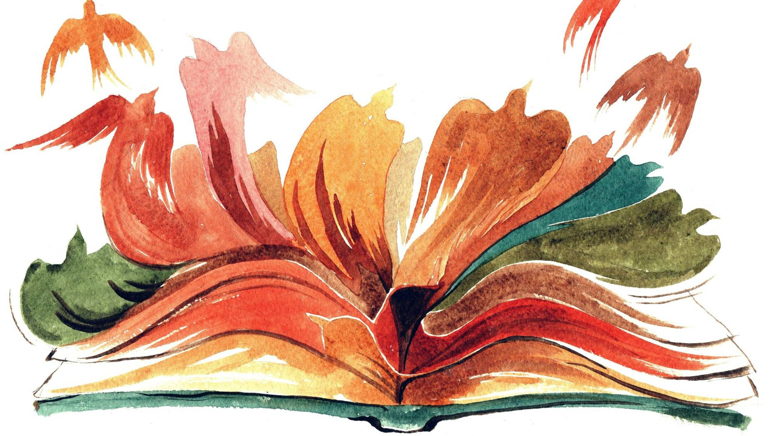 Illustration of a colorful open book with birds flying out of the pages