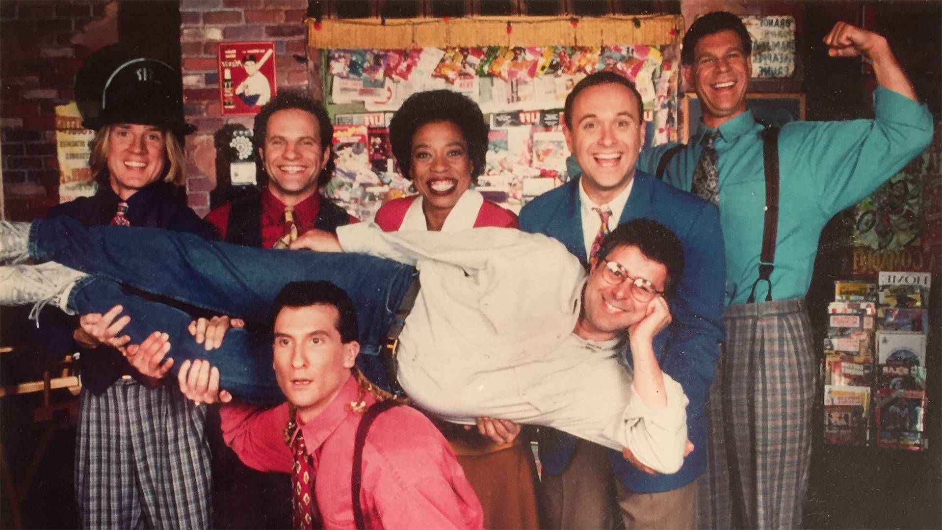 """the """"where in the world"""" cast with producer Howard Blumenthal. Carmen Sandiego, Where In The World, Rewire, PBS"""