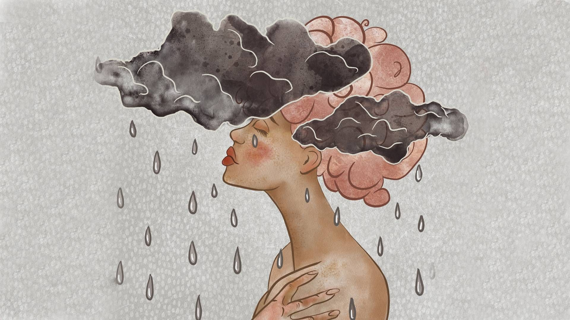 Woman with clouds over her head. rewire pbs decolonizing therapy