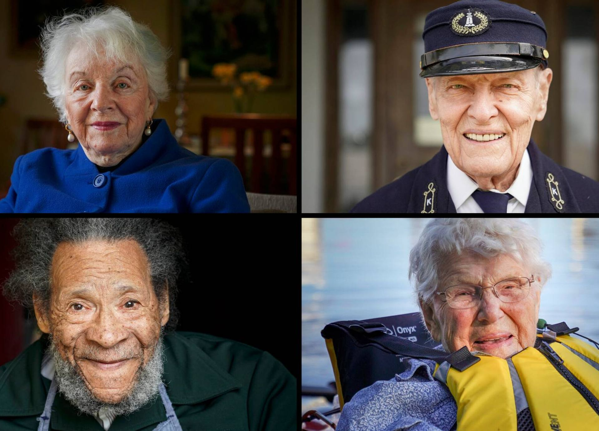 Collage of four portraits of older men and women looking at the camera and smiling. Life, elders, Rewire, PBS