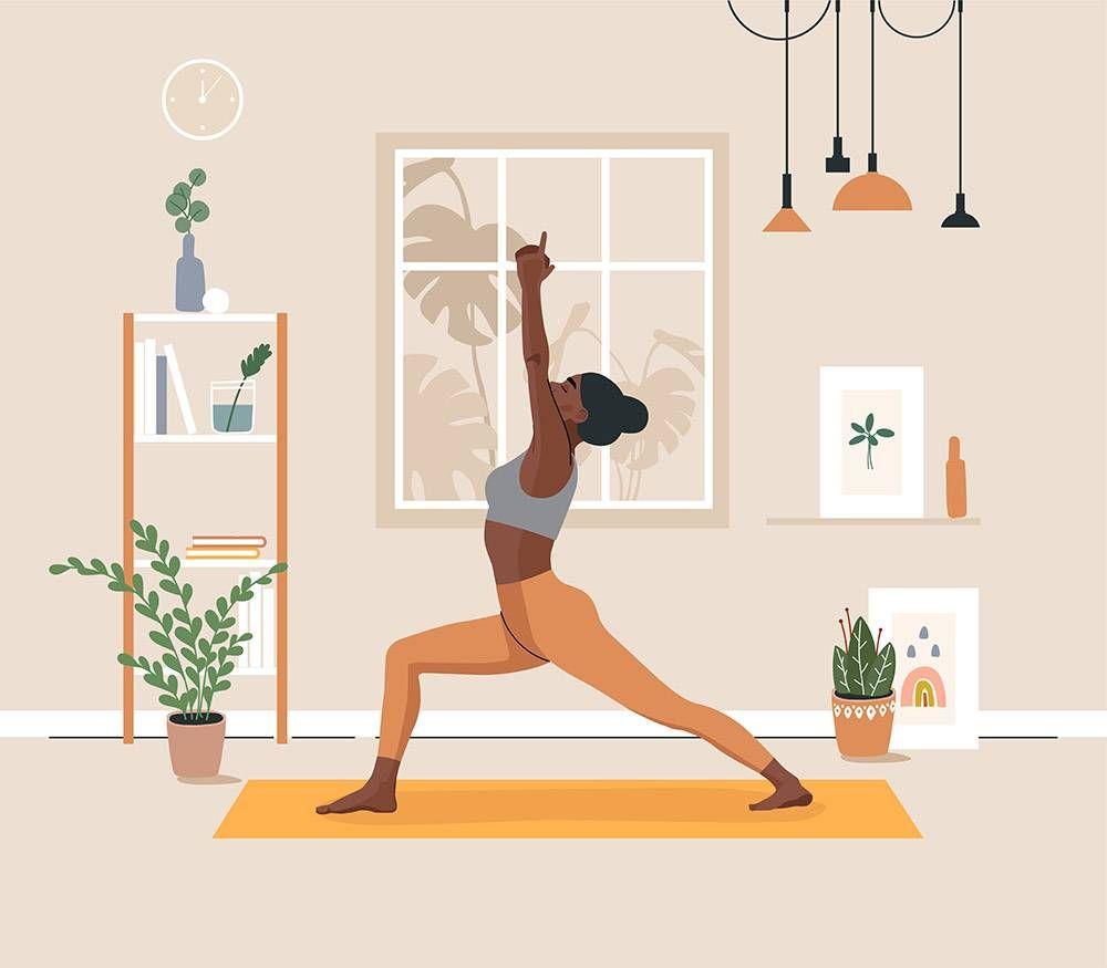 woman doing yoga. rewire pbs health mental health workout