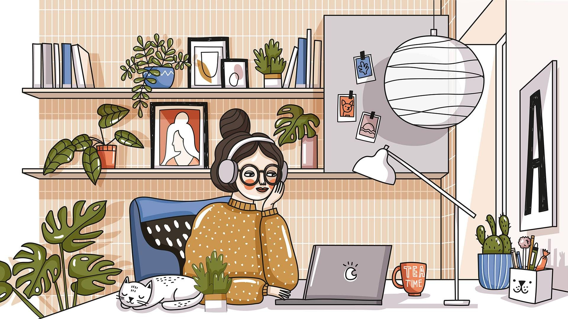 woman in a home office. rewire pbs work home office, DIY