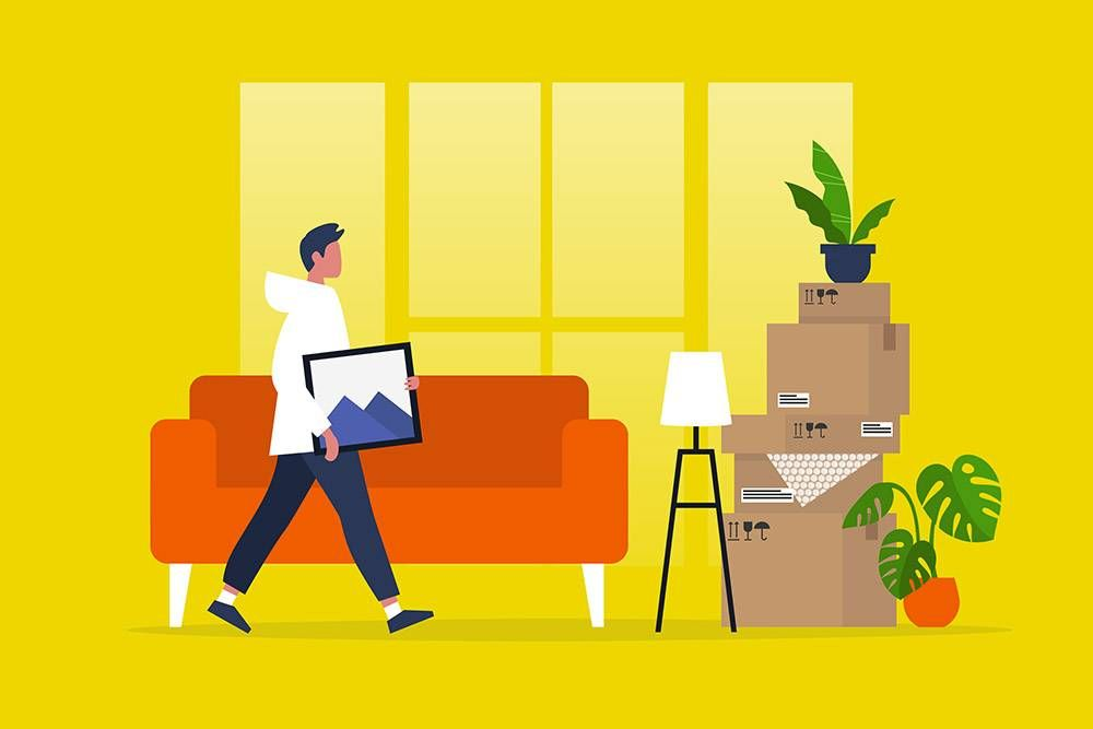 a man moving furniture. rewire pbs our future keep my couch, shopping, furniture
