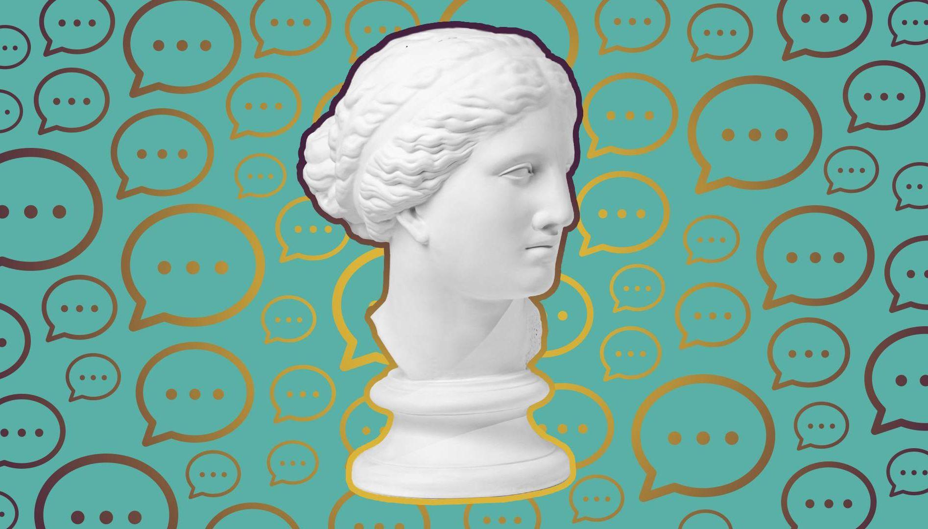 a statue head. Rewire pbs love post-pandemic body