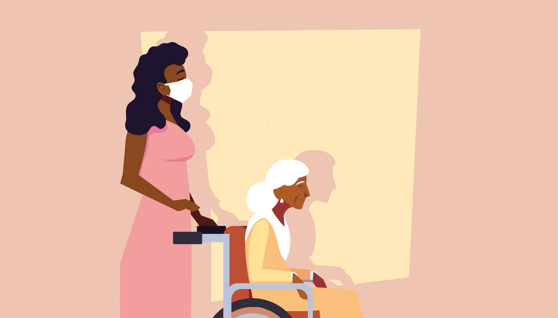 a caregiver and older woman. caregiving, rewire pbs living