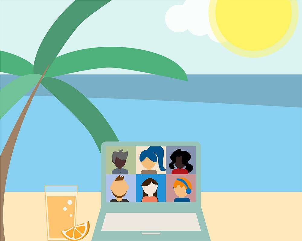 a laptop on a beach. rewire pbs work workcation, remote work