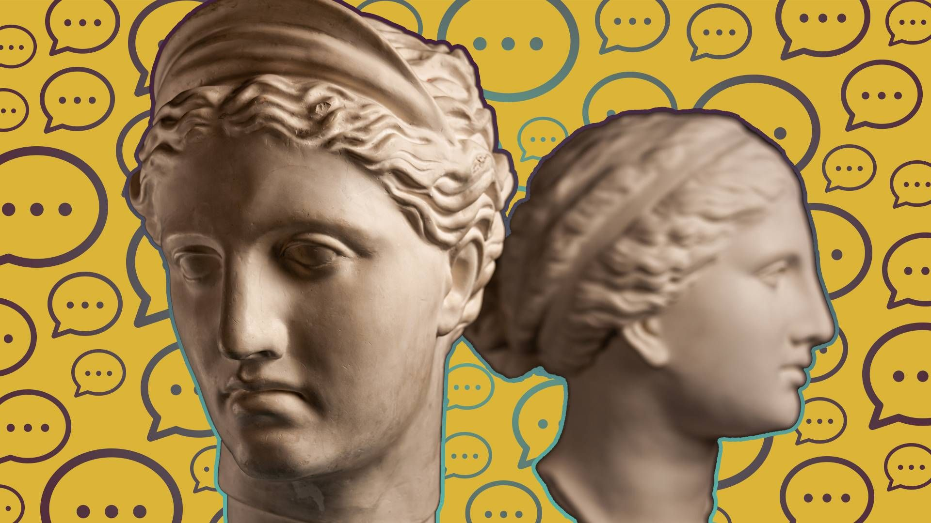 two statue heads. Rewire PBS love friend terrible relationship