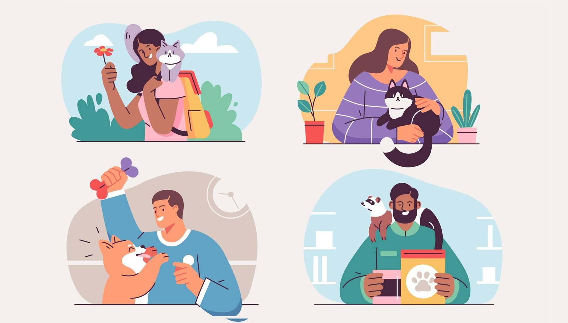 Illustration of four people with pets.